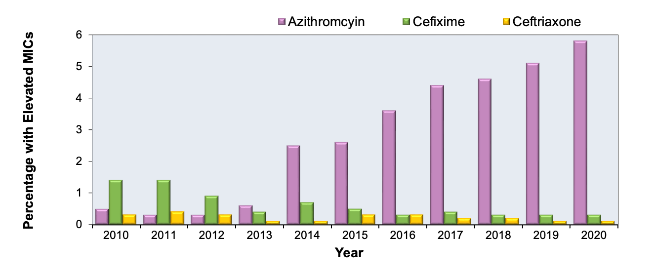*Isolates not tested for cefixime susceptibility in 2007 and 2008. 