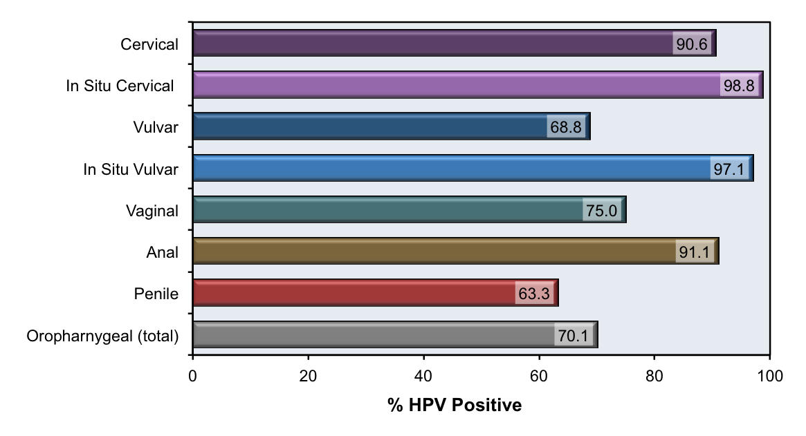These data are from archival tissue for cancers diagnosed from 1993 to 2005 obtained by the CDC in partnership with seven US population-based cancer registries. The investigators performed HPV testing on samples from 2670 patients.<div>Source: Saraiya M, Unger ER, Thompson TD, et al. US assessment of HPV types in cancers: implications for current and 9-valent HPV vaccines. J Natl Cancer Inst. 2015;107:djv086.</div>