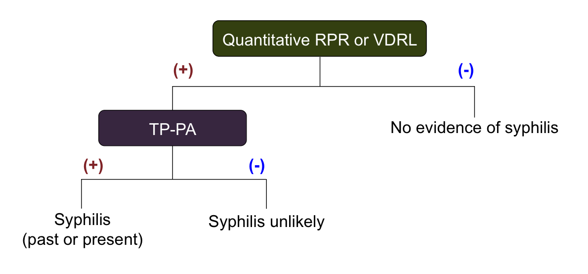 The traditional (standard) serologic screening sequence algorithm uses a quantitative nontreponemal test (RPR or VDRL) for screening followed by a treponemal test for confirmation of positive screening tests.</br>Abbreviations: RPR = rapid plasma reagin; VDRL = Venereal Disease Research Laboratory; TP-PA = <em>Treponema pallidum</em> particle agglutination.<div></div>